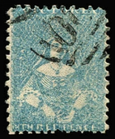 Lot 629:1859 Perf 12 By Robinson 3d blue Half-Length, SG #78, unusually well-centred & very fine, Cat £140. Ex Perry.