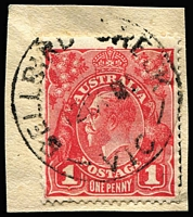 Lot 1214:Bellbird Creek (1): 28mm 'BELLBIRD CREEK/12OC[?]/VIC' on 1d red KGV on piece. [Rated 5R - not previously recorded by WWW!]  RO 1/7/1911; closed 1/7/1919.