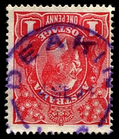 Lot 1215:Deakin (2): violet 'DEAKIN/4SE14/[VIC]' (A2) on 1d red KGV. [Rated 5R]  RO 1/11/1909; PO 1/7/1927; closed 30/11/1930.