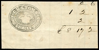 Lot 1285:Customs: fine intaglio crown seal 'CUSTOMS/KING GEORGES SOUND' on piece. Rare