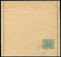 Lot 1341:1903 ½d Green Single Line Border 99mm apart, 4-ring UPU specimen cancel, PSSA #WR3, Cat $150.