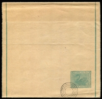 Lot 1012:1903 ½d Green Single Line Border 99mm apart, 4-ring UPU specimen cancel, PSSA #WR3, Cat $150.