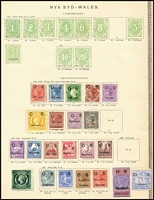 Lot 920 [2 of 2]:UPU Distribution - NSW on Lichtenstein pages generally stuck to page with top third of gum, with Postage Dues 1d to 20/- excl 8d all mint & ½d Type 13 (5/-, 10/- & 20/- alone cat £1,475); Officials - DLR 1d, 2d, 4d, 6d & 1/- Type 6, 3d Diadem, 5d & 8d Large Diadem 9d on 10d & 10d Type 11; Officials - Centennials 1d, 2d, 4d, 6d, 8d & 1/- mixed Types 8 & 11, 20/- Type 13; Officials - 'POSTAGE ovpt 10/- blue ovpt Type 10; Officials - Others 2½d Allegorical & Surcharges all mint (32)