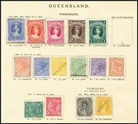 Lot 921 [2 of 4]:UPU Distribution - Qld on Lichtenstein pages generally stuck to page with top third of gum, with Small Chalons 1d, 2d, 3d, 4d, 6d, 1/-brown, 1/- grey, 5/- rose & (6d) Registered all Type 1; Second Sideface 1d, 2d, 4d, 6d & 1/- Type 1, and 2/- pale brown mint; Large Chalons 2/- Type 1, 2/6d to £1 mint; 1890 Issues ½d, 2½d carmine & 3d brown mint; 1895 Issues Void Ovals ½d, 1d, 2d & 5d all mint; 1896 Issues Figures in 2 Corners 1d mint; 1897 Issues Figures in 4 Corners 1d, 6d & 6d all mint; 1898-99 Issues Figures in 4 Corners ½d (both types), 1d black roulettes, 1d uncoloured roulettes, 2½d rose, 2½d purple/blue, 3d, 4d, 5d, 6d & 1/- all mint; 1902 Issues 2/- turquoise mint; 1903 Issues 9d Commonwealth mint. (44)