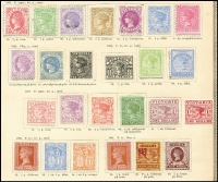 Lot 925 [3 of 6]:UPU Distribution - Vic on Lichtenstein pages generally stuck to page with top third of gum, with 'Reprint' Ovpt 1/- Octagonal, 1/- Laureate, 5/- Laureate, ½d carmine Bantam, 2d lilac Naish, 1d brown & 1d green Stamp Duty; 1885 Issues ½d, 1d, 3d, 4d, 6d & 8d all mint; 1886 Issues 2d mauve, 1/- blue/yellow, 1d & 6d New Designs all mint; 1887 Issues ½d rose, 2d, 4d, 1/- x2 (shades) & 2/- green/green all mint; 1890 Issues 1d brown 1/6d blue & 1/6d orange all mint; 1891 Issues 1d brown/pink, 2½d red-brown/lemon all mint; Postal Fiscals 2/6d yellow, 3/- drab, 4/- orange-red, 5/- claret/yellow all mint, 6/- 10/- 15/- & £1 all CTO; 1892 Issue. 9d green mint; 1895 Issues 1½d green, 9d rosine, 2/- blue-green & 5/- rosine all mint; 1897 Issues Charity pair Type 22; 1897 Issues ½d green, 1d red, 1½d red-brown/yellow & 2½d blue all mint; 1900 Issues Boer War pair mint; Later No POSTAGE issues ½d, 1d olive, 2d, 3d, 4d, 1/-, 2/- & 5/- all CTO; POSTAGE Issues ½d, 1d, 1½d, 2d, 2½d, 3d, 4d, 5d, 6d, 9d, 1/-, 2/-, 5/- £1 & £2 all CTO; Postage Dues ½d to 5/- brown & blue ex 3d, ½d to 5/- red & green all mint. (94)