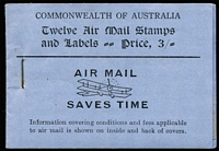 Lot 774:1930-35 3/- Green Airmail booklet with black/violet-blue cover, complete with all panes, BW #B40, unusually fine with no toning & no rust around the staple, Cat $1,500.