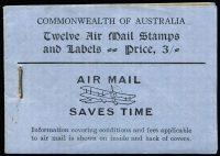 Lot 775:1930-35 3/- Green Airmail with black/violet-blue cover containing 3d Airmail x8 (one pane missing) in two panes plus two panes of six airmail etiquettes BW #B40, wax interleaving, a few staple rust marks, Cat $1,500.