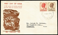 Lot 859 [2 of 4]:Bergen 1952 KGVI 4½d Red FDI on Postcard tied by Hindmarsh (SA) '20FE52' FDI cds to ANA airmail postcard with DC4 Skymaster image on viewside & Bergen hand-printed cachet on message side, handstamped address to James Stapleton in New Zealand. Plus 4½d & 6½d on Haslam FDC and 4½d uprating 3½d Lettercard to Denmark. (3)
