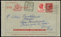 Lot 859 [3 of 4]:Bergen 1952 KGVI 4½d Red FDI on Postcard tied by Hindmarsh (SA) '20FE52' FDI cds to ANA airmail postcard with DC4 Skymaster image on viewside & Bergen hand-printed cachet on message side, handstamped address to James Stapleton in New Zealand. Plus 4½d & 6½d on Haslam FDC and 4½d uprating 3½d Lettercard to Denmark. (3)