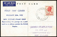 Lot 859 [1 of 4]:Bergen 1952 KGVI 4½d Red FDI on Postcard tied by Hindmarsh (SA) '20FE52' FDI cds to ANA airmail postcard with DC4 Skymaster image on viewside & Bergen hand-printed cachet on message side, handstamped address to James Stapleton in New Zealand. Plus 4½d & 6½d on Haslam FDC and 4½d uprating 3½d Lettercard to Denmark. (3)