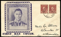 Lot 698:Haslem 1938 KGVI 1½d maroon pair on blue illustrated cover, minor blemishes, hand-written address.