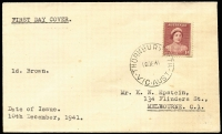 Lot 724:Plain 1941 1d Red-Brown QE on typed-addressed cover (small faults) with 'THORNBURY NTH/10DE41/VIC-AUST.' cds.