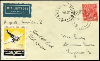 Lot 937:1937 Kingscote - American River rare intermediate, with 2d red KGV, AAMC #700a, fine Adelaide Airways Ltd label on face. Signed by pilot Harold O Cook. The mail on the intermediate leg was very small and there was no airmail fee charged.