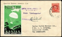 "Lot 770 [1 of 6]:1943-47 Parachute Mail to Mornington Island [1] 1943 (24 Dec) QANTAS Parachute Mail Sydney-Mornington Island, signed by pilot ""K.G.Caldwell"" and green label (1943) affixed, on reverse 'MORNINGTON ISLAND' handstamp & mss ""J.B. McCarthy/Missionary in Charge/25.12.43'; [2] 1946 (19 Dec) Parachute Mail Sydney-Mornington Island, and orange/brown label (Frommer 62b) affixed, and on reverse 'MORNINGTON ISLAND' handstamp & mss ""J.B. McCarthy/Missionary in Charge/25.12.43"" [3] 1947 (19 Dec) Parachute Mail Sydney-Mornington Island, and green/black label affixed, signed by pilot ""RA Bruce"" and on reverse 'MORNINGTON ISLAND' handstamp & mss ""J.B. McCarthy/Missionary in Charge/25.12.47"". (3)"