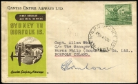 Lot 773 [1 of 2]:1947 (14 Oct) Sydney-Norfolk Island with QANTAS green & brown vignette (Frommer 65d), signed by Pilot, and on reverse Norfolk Island arrival cds.