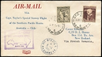 Lot 1031 [3 of 6]:1951 Australia-Chile Survey Flight set of intermediates on printed Covercraft covers with New Zealand address. Intermediates are New Caledonia, Fiji, Western Samoa, Aitutaki, French Polynesia & Easter Island, AAMC #1271a-g, Cat $1,350. A rare set. (6)