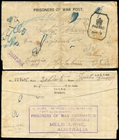 Lot 1036 [2 of 2]:1944 POW Post Card from No 13 POW Group Murchison to Italy, minor faults. Plus POW Lettersheet from Camp 5 India to Italy, curiously with violet boxed '.../PRISONER OF WAR INFORMATION/BUREAU/MELBOURNE,/AUSTRALIA' handstamp on back. (2)