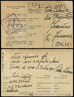 Lot 1036 [1 of 2]:1944 POW Post Card from No 13 POW Group Murchison to Italy, minor faults. Plus POW Lettersheet from Camp 5 India to Italy, curiously with violet boxed '.../PRISONER OF WAR INFORMATION/BUREAU/MELBOURNE,/AUSTRALIA' handstamp on back. (2)