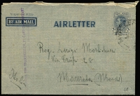 Lot 959 [2 of 2]:Victoria airmail Myrtleford POW camp to Italy, [1] 1943 lettersheet with 1/- Lyrebird, [2] 1946 7d Airletter. (2)