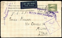 Lot 959 [1 of 2]:Victoria airmail Myrtleford POW camp to Italy, [1] 1943 lettersheet with 1/- Lyrebird, [2] 1946 7d Airletter. (2)