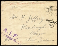 Lot 897 [2 of 2]:1915-18 OAS covers; [1] 1915 'A.I.F./Passed by Censor .......' on PPC of 'T.S.S. GEELONG' to Blackwood SA, '[A.I.F.]/POSTAGE/FREE' handstamp on face; [2] 'AI.F./[Passe]
