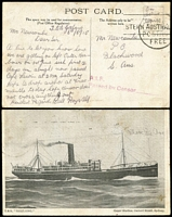 Lot 897 [1 of 2]:1915-18 OAS covers; [1] 1915 'A.I.F./Passed by Censor .......' on PPC of 'T.S.S. GEELONG' to Blackwood SA, '[A.I.F.]/POSTAGE/FREE' handstamp on face; [2] 'AI.F./[Passe]