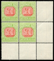 Lot 778:1913-21 Wmk Crown/Double Lined A Thin Paper £1 scarlet & pale green BW #D104 lower-right corner block of 4, well centred, trivial gum bend in top tight unit, Cat $8,000++. Ex Paul Larson. RPSV certificate (2008). An oustanding rarity, only 708 units issued. A monogram block of 6 was sold in the Australia Post Archival sales which is unrelated to this block.