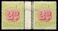 Lot 780:1922-30 Wmk 3rd Crown/A 2d carmine & yellow-green interpane pair the right hand unit with Double Perforations Vertically BW #D108ba, hinge remainder, Cat $150+. Significantly undercatalogued, only one right pane (1st Column) believed to have this error, ie 10 stamps.