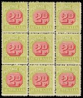 Lot 779 [2 of 4]:1922-30 Wmk 3rd Crown/A 2d carmine & yellow-green block of 36 (split into 4 blocks of 9) [FP2 LP1-36], BW #D108, MUH, includes Break in upper left frame of octagon BW #(FP2)d, Cat $720+. (4 blocks)