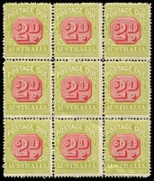 Lot 779 [3 of 4]:1922-30 Wmk 3rd Crown/A 2d carmine & yellow-green block of 36 (split into 4 blocks of 9) [FP2 LP1-36], BW #D108, MUH, includes Break in upper left frame of octagon BW #(FP2)d, Cat $720+. (4 blocks)