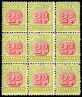 Lot 779 [1 of 4]:1922-30 Wmk 3rd Crown/A 2d carmine & yellow-green block of 36 (split into 4 blocks of 9) [FP2 LP1-36], BW #D108, MUH, includes Break in upper left frame of octagon BW #(FP2)d, Cat $720+. (4 blocks)
