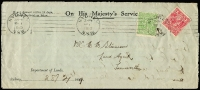 Lot 1010:1919 (Mar 1) use of 1d red Single wmk & ½d green Large Multi, both perf 'OS/NSW', on opened-out OHMS cover from Department of Lands.