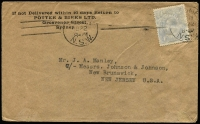 Lot 1012:1922 (Jul 19) use of 4d milky blue KGV on commercial cover to USA. Scarce.