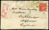 Lot 892:1923 (Jan 17) use of 3d green Roo Die IIB & 2d red KGV on cover from Walcha, NSW to England, with red registration label, couple of repaired tears, contents included.