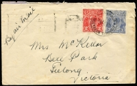 Lot 691:1932 (Feb 4) use of 2d red & 2d blue KGV on air cover from Mataranka, NT to Geelong, Brisbane & Sydney backstamps. Very scarce.