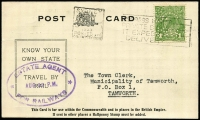 Lot 905:1935 (Aug 22) use of 1d green KGV perf 'G/NSW' on Department of Railways Post Card, from the Estate Agent for Railways.