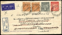 Lot 904:1935 (Apr 16) use of Anzac set & 5d KGV x2 on registered air cover from Melbourne to Holland and then redirected to Berlin.