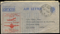 Lot 830 [2 of 2]:1944-45 7d Blue KGVI - Admonition Removed with Lancastrian service cachet x2 (one on yellow paper, the other on stone paper), BW #A2e, typed letter, Cat $600. (2)