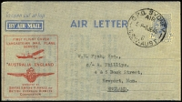 Lot 830 [1 of 2]:1944-45 7d Blue KGVI - Admonition Removed with Lancastrian service cachet x2 (one on yellow paper, the other on stone paper), BW #A2e, typed letter, Cat $600. (2)