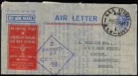 Lot 829:1944 'AIR LETTER' QANTAS private cachet with typed message from QANTAS only 75 were produced, Cat $250.