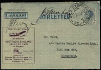 Lot 831 [1 of 2]:1945-50 7d KGVI New Layout optd in purple for the Sydney Singapore leg of the re-opening of the EMPIRE AIR ROUTE. Addressed to Qantas in Singapore, signed by both pilots Moxham and Furze, backstamped Singapore GPO next day.