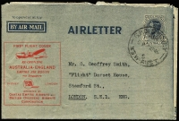 Lot 832:1945-50 7d KGVI New Layout optd in red for the Sydney London leg of the re-opening of the EMPIRE AIR ROUTE.