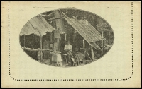 Lot 778 [2 of 2]:1911-12 1d KGV Fullface Perf 10 First Line Ending 'Any' sepia on pale green surfaced stock, with view 'BUSH HUT/VIC.', BW #LC1(27), 1911 use from Adelaide to Eudunda.