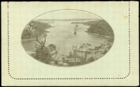 Lot 779 [2 of 2]:1911-12 1d KGV Fullface Perf 10 First Line Ending 'Any' sepia on pale green surfaced stock, with view 'MOSMAN'S BAY./SYDNEY. N.S.W.', BW #LC1(78A), unused, minor spotting.