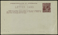 Lot 788 [1 of 4]:1914-18 1d KGV Die 1 Sideface on grey P10 x2, BW #LC17 sepia - River Derwent & purple-brown - North Terrace (2)