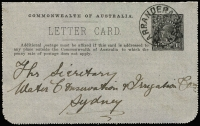Lot 448 [1 of 2]:1918-20 1½d KGV Sideface black? on mottled grey stock P12½ with view of 'ON THE MURRAY/S. AUSTRALIA.'', BW #LC42, used Narrandera to Sydney 3JA20, no margins