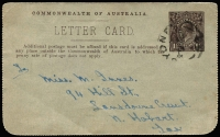 Lot 449 [1 of 2]:1918-20 1½d KGV Sideface black-brown on grey stock P12½ with view of 'GIBBERONG CREEK N.S.W.', BW #LC44, used Sydney to Hobart 17AU20, no margins
