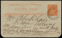 Lot 887 [1 of 2]:1920-22 2d Orange KGV Sideface on grey surfaced card P12½, view 'BURRINJUCK DAM...SETTLER'S HOME LEETON' BW #LC48(26), from Maryborough, Vic addressed to Mr Abikhair draper Albury New South Wales/GPO Albury please deliver to Mr Abikhair opposite side of street to Police Station. Message is about purchasing handkerchiefs and studs. Spike hole and couple of creases.