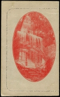 Lot 806 [2 of 2]:1924 'THREE/HALFPENCE' On 2d KGV Sideface red on grey surfaced stock P12½ with view of 'RUSSELL FALLS/TASMANIA', BW #LC54(118). Couple of wrinkles, unused.