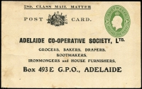 Lot 776:1928-37 1d Green KGV Oval BW #PS23 unused, Cat $300, for Adelaide Co-Operative Society 2nd class mail, a little soiled, rare.